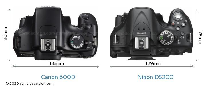 Canon 600D vs Nikon D5200 Camera Size Comparison - Top View