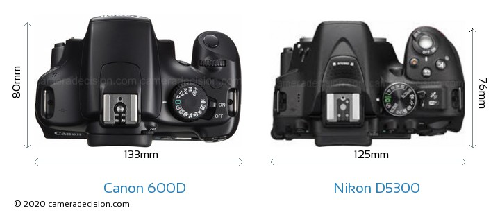 Canon 600D vs Nikon D5300 Camera Size Comparison - Top View