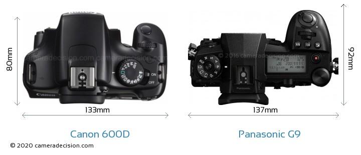 Canon 600D vs Panasonic G9 Camera Size Comparison - Top View