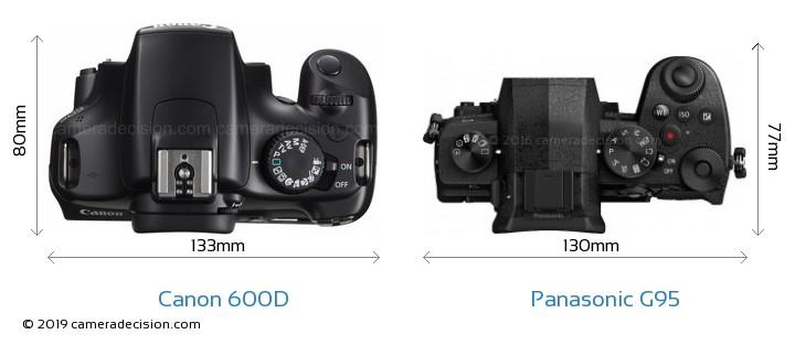Canon 600D vs Panasonic G95 Camera Size Comparison - Top View