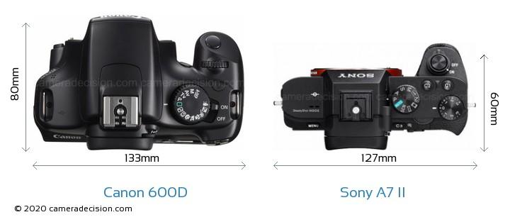 Canon 600D vs Sony A7 II Camera Size Comparison - Top View