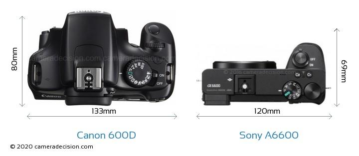 Canon 600D vs Sony A6600 Camera Size Comparison - Top View