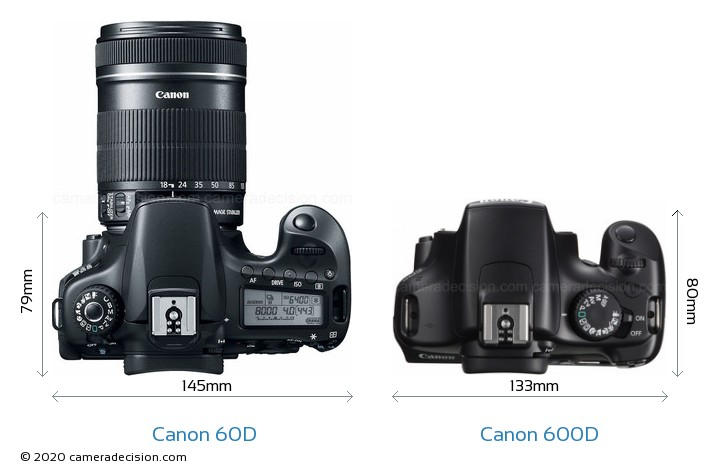 Canon 60D vs Canon 600D Camera Size Comparison - Top View