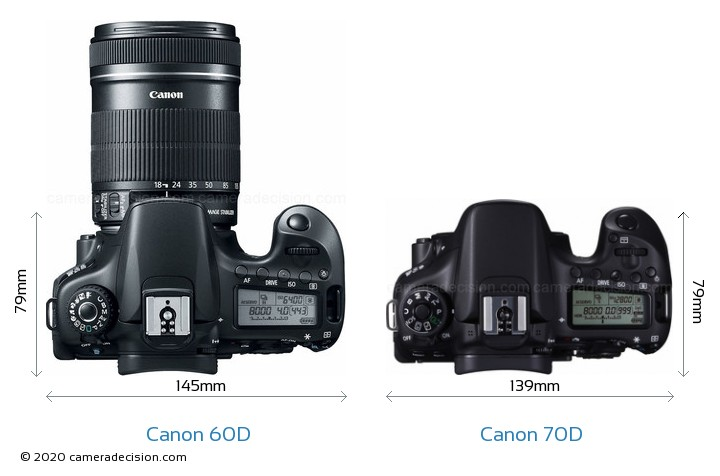 Canon 60D vs Canon 70D Camera Size Comparison - Top View