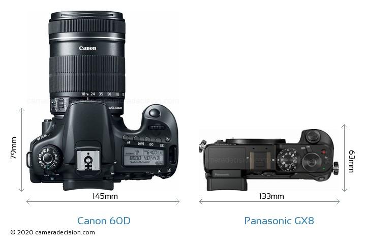 Canon 60D vs Panasonic GX8 Camera Size Comparison - Top View