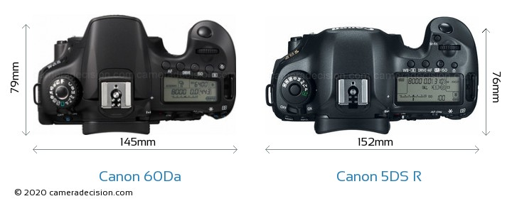 Canon 60Da vs Canon 5DS R Camera Size Comparison - Top View