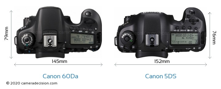Canon 60Da vs Canon 5DS Camera Size Comparison - Top View