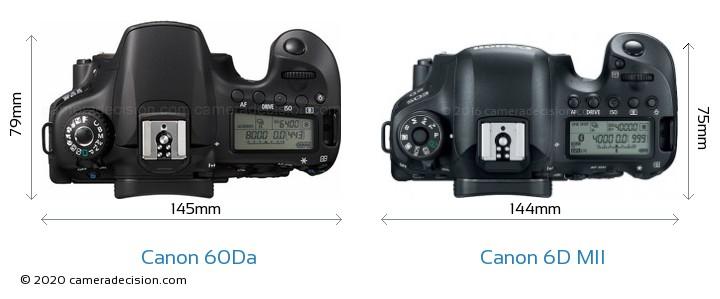 Canon 60Da vs Canon 6D MII Camera Size Comparison - Top View
