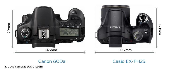 Canon 60Da vs Casio EX-FH25 Camera Size Comparison - Top View