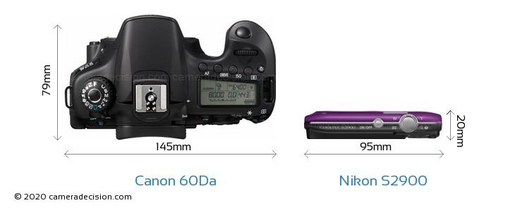 Canon 60Da vs Nikon S2900 Camera Size Comparison - Top View