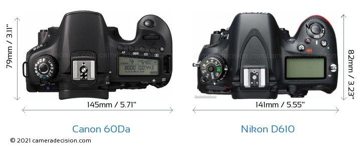 Canon 60Da vs Nikon D610 Camera Size Comparison - Top View