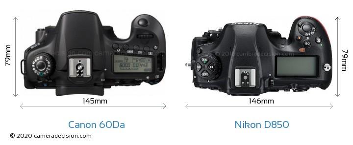 Canon 60Da vs Nikon D850 Camera Size Comparison - Top View