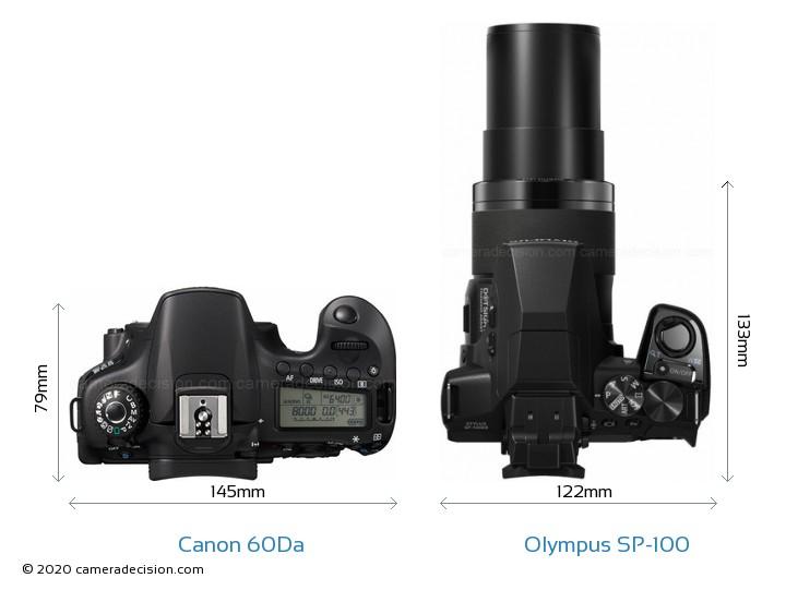Canon 60Da vs Olympus SP-100 Camera Size Comparison - Top View