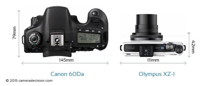 Canon 60Da vs Olympus XZ-1 Camera Size Comparison - Top View