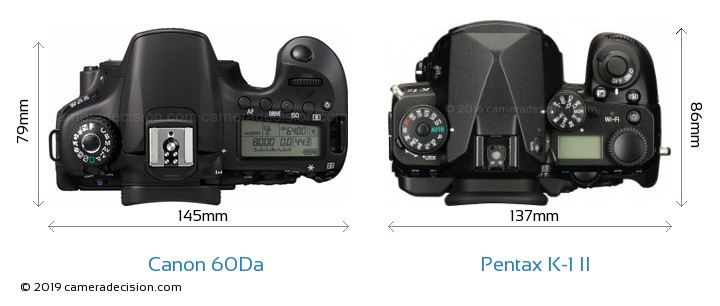 Canon 60Da vs Pentax K-1 II Camera Size Comparison - Top View
