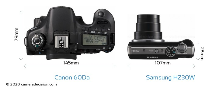 Canon 60Da vs Samsung HZ30W Camera Size Comparison - Top View