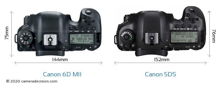 Canon 6D MII vs Canon 5DS Camera Size Comparison - Top View