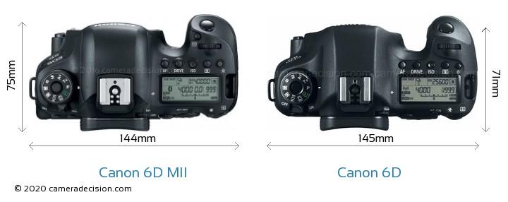 Canon 6D MII vs Canon 6D Camera Size Comparison - Top View