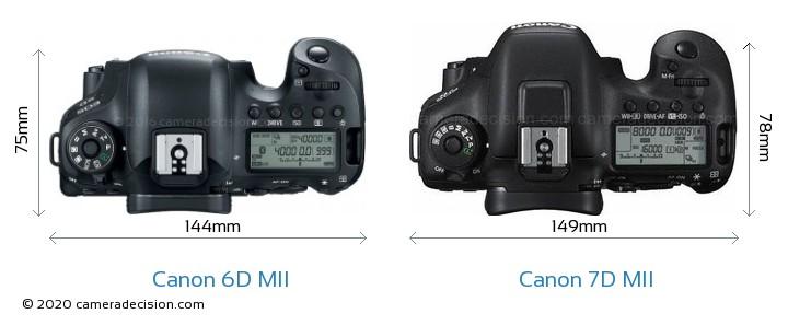 Canon 6D MII vs Canon 7D MII Camera Size Comparison - Top View