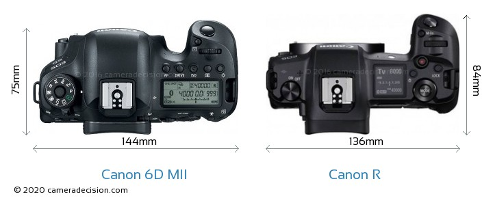 Canon 6D MII vs Canon R Camera Size Comparison - Top View