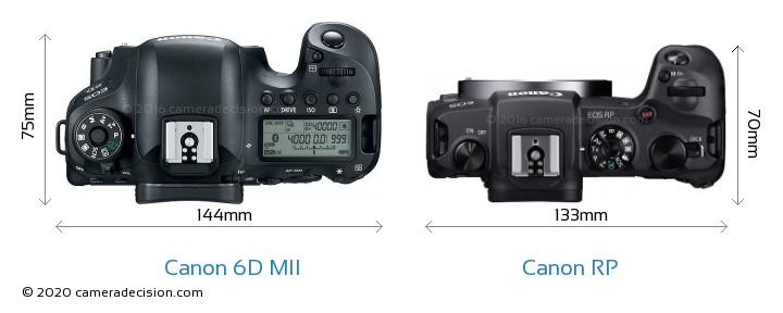 Canon 6D MII vs Canon RP Camera Size Comparison - Top View