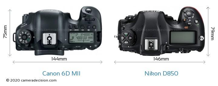Canon 6D MII vs Nikon D850 Camera Size Comparison - Top View