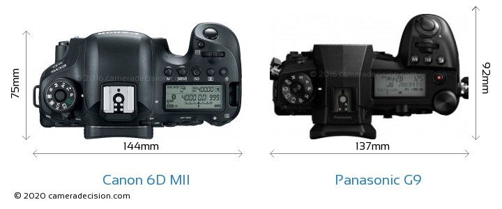 Canon 6D MII vs Panasonic G9 Camera Size Comparison - Top View
