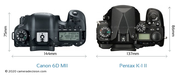 Canon 6D MII vs Pentax K-1 II Camera Size Comparison - Top View