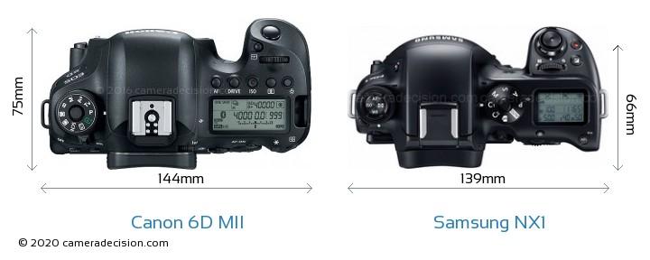 Canon 6D MII vs Samsung NX1 Camera Size Comparison - Top View