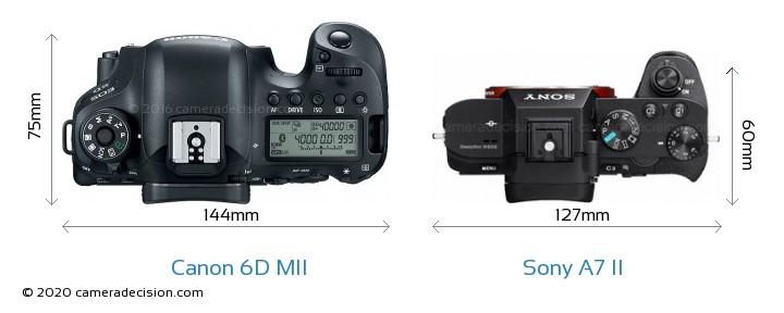 Canon 6D MII vs Sony A7 II Camera Size Comparison - Top View
