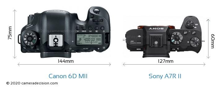 Canon 6D MII vs Sony A7R II Camera Size Comparison - Top View