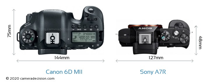 Canon 6D MII vs Sony A7R Camera Size Comparison - Top View
