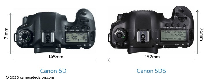 Canon 6D vs Canon 5DS Camera Size Comparison - Top View