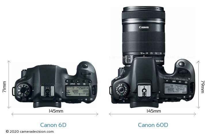 Canon 6D vs Canon 60D Camera Size Comparison - Top View