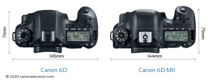 Canon 6D vs Canon 6D MII Camera Size Comparison - Top View
