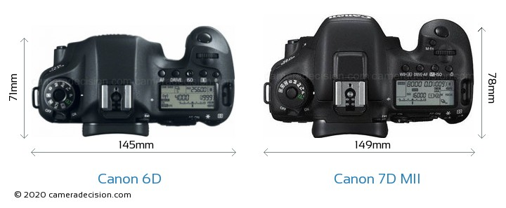 Canon 6D vs Canon 7D MII Camera Size Comparison - Top View