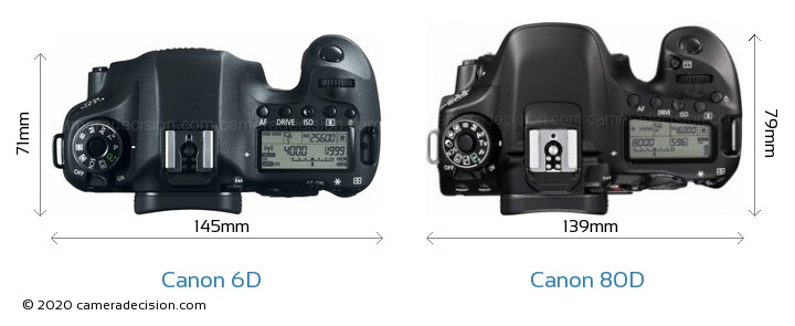 Canon 6D vs Canon 80D Camera Size Comparison - Top View