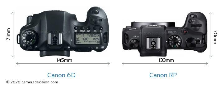 Canon 6D vs Canon RP Camera Size Comparison - Top View