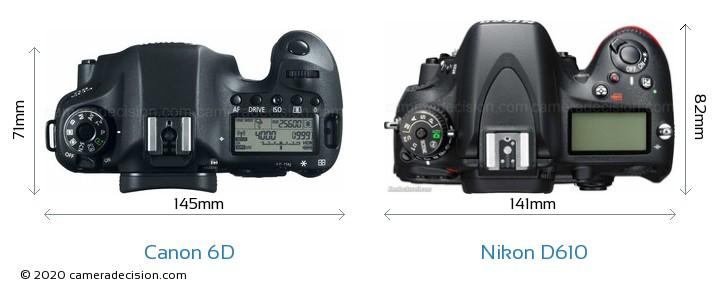 Canon 6D vs Nikon D610 Camera Size Comparison - Top View