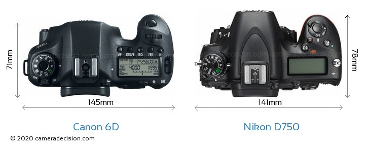 Canon 6D vs Nikon D750 Camera Size Comparison - Top View