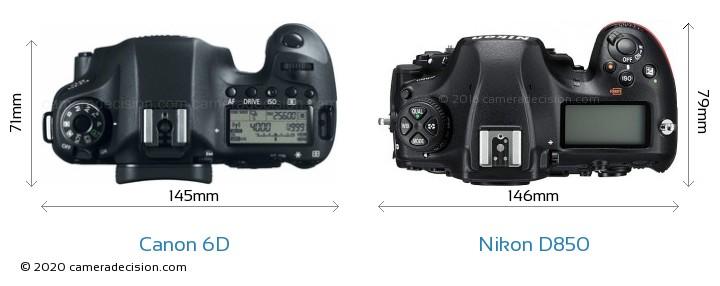 Canon 6D vs Nikon D850 Camera Size Comparison - Top View