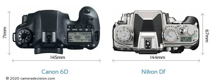 Canon 6D vs Nikon Df Camera Size Comparison - Top View