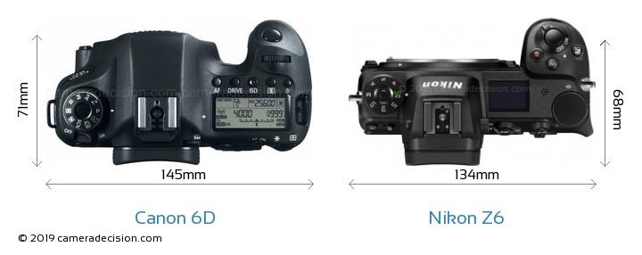 Canon 6D vs Nikon Z6 Camera Size Comparison - Top View
