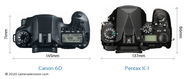 Canon 6D vs Pentax K-1 Camera Size Comparison - Top View