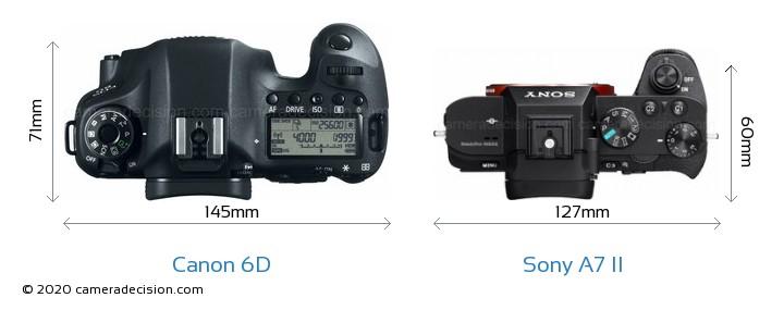 Canon 6D vs Sony A7 II Camera Size Comparison - Top View