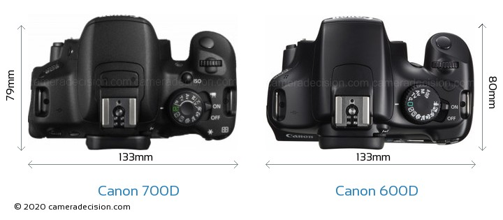 Canon 700D vs Canon 600D Camera Size Comparison - Top View