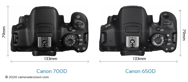 Canon 700D vs Canon 650D Camera Size Comparison - Top View