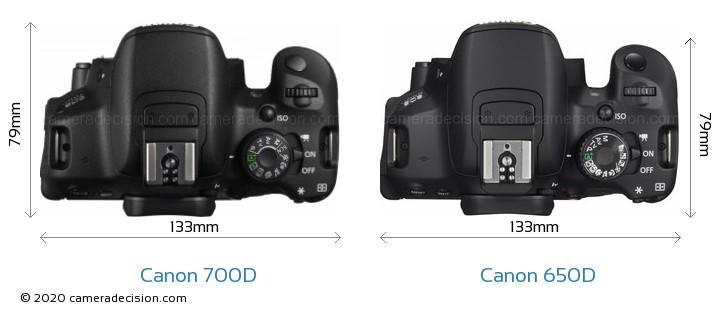 Canon 700D vs Canon 650D Camera Size Comparison - Top View