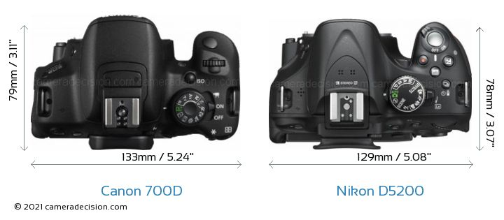 Canon 700D vs Nikon D5200 Camera Size Comparison - Top View