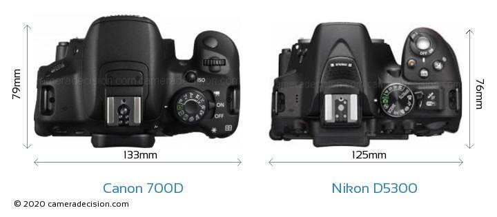 Canon 700D vs Nikon D5300 Camera Size Comparison - Top View